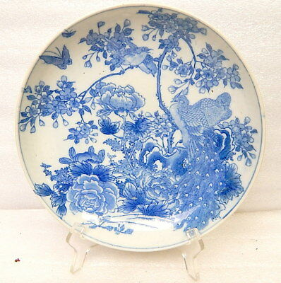 Antique Japanese Delft Blue Porcelain Charger Plate Qing Ming Dynasty Peacock