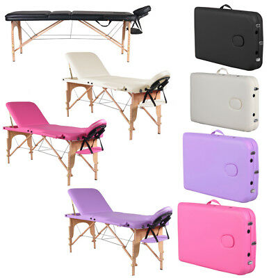 2/3 Section Adjustable Massage Table Beauty Salon Plinth Therapy Couch Bed Chair