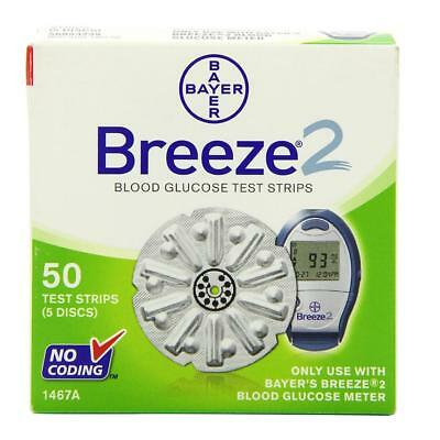 NEW Bayer Breeze 2 Blood Gloucose Disc Test Strips 50ct 1468A No-Coding