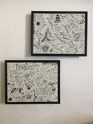 1000 Rock & Roll and Alt Bands Framed Art Set