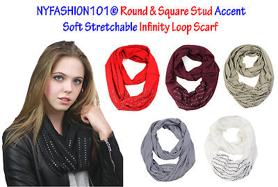 NYFASHION101® Round & Square Stud Accent Soft Stretchable Infinity Loop Scarf