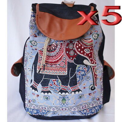 5pc Wholesale Large Women Canvas Elephant Backpack Bag Lady Girl Handbag