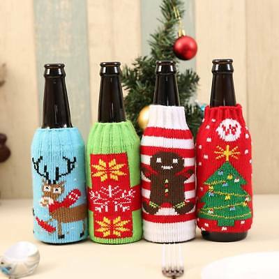 Xmas Ugly Knitted Jumper Beer Wine Spirit Bottle Cooler Gift Fun Party Kris Krin