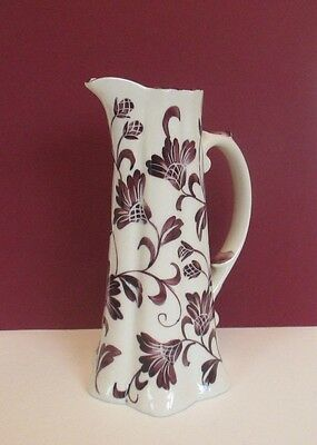 Andrea by Sadek Tall Hand Painted Pitcher with Purple Flowers