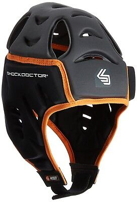 (Small/Medium, Grey/Black) - Shock Doctor Men's Shock Skin Rugby Head Guard