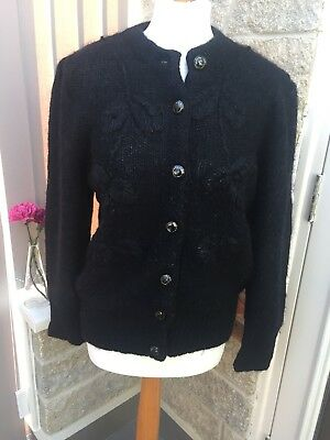 Vintage Size 12 Black Evening Cardigan - Embroidered, Gothic, Knit