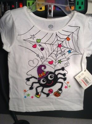 New Girls Toddler Black Spider Halloween Choose 2T, 3T, 4T scoop neck T-shirt