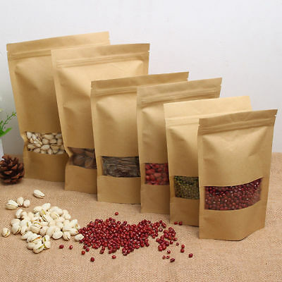 10Pcs Kraft Paper Window Bag Stand Up Plastic Sealable Pouch Zip Lock Packaging