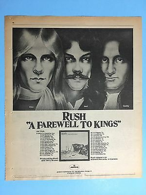 "Rush ""A Farewell To Kings"" 1977 Original 11X13.5"" Full Page Print Promo Ad"