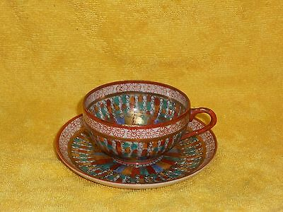 Antique Hand-Painted Japanese '1000 Faces' Tea Cup/Saucer