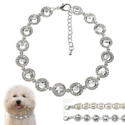 Bling Rhinestone Dog Collars Necklace Diamante Pearls Cute for Small Dogs Puppy