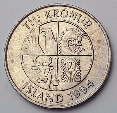 Dated : 1994 - Iceland - 10 Kronur - Coin