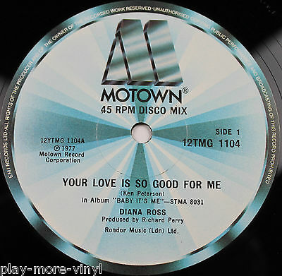 """DIANA ROSS Your Love Is So Good For Me 12"""" vinyl UK 1977 Motown plays EX!"""