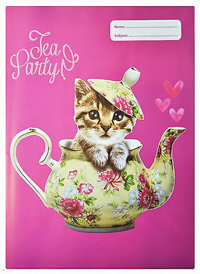 Spencil Exercise Book Covers A4 Teapot Cat-Pack of 6