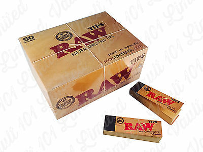 Genuine Raw Rolling Paper Tips Box of 50 Packs Roach Full Box 50 PER Booklets UK