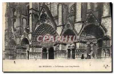 CPA Bourges Cathedrale Lescing Portails