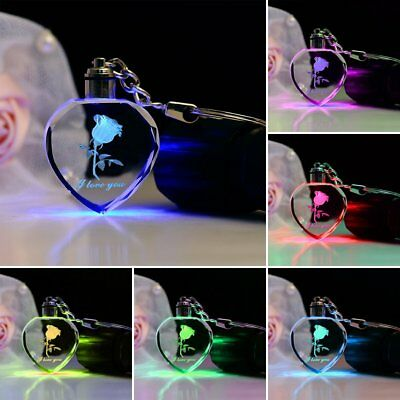 New Love Heart Crystal LED Light Keychain 3D Laser Rose Engraved Color Changing