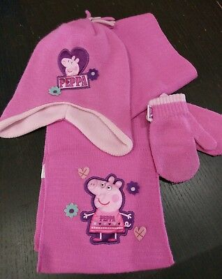 peppa pig age 2-4 years hat,gloves and scarf set