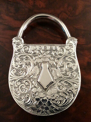 A Large Solid Silver Rare Victorian Vesta Case Designed As A Padlock Dated 1888