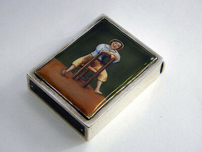 A Victorian Silver And Enamel Vesta Case Made In London 1886 By Walter Thornhill