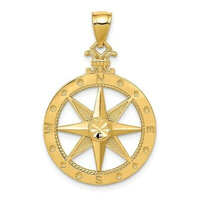 14K Yellow Gold Polished Nautical Compass Pendant 30x20mm 1.78gr