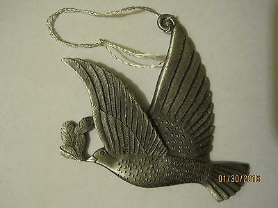 Wallace Silversmiths Pewter Dove Christmas Ornament