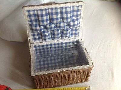 Vintage Wicker Sewing Basket, Rectangle, With Inner Tray