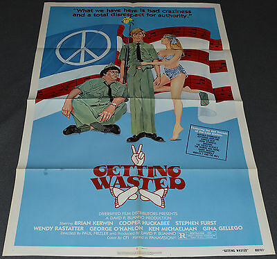 GETTING WASTED 1980 ORIGINAL MOVIE POSTER! STEPHEN FURST 1960's DRUGS COMEDY!