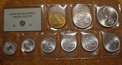 Rare 1975 Hungarian 9 Coin Mint Set With Scarce 2&5 Filler,5&10 Forint Low Mint
