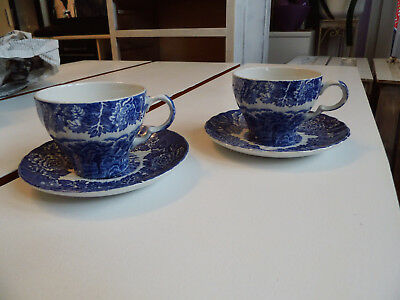 Wood & Sons ENGLISH SCENERY BLUE (SWIRL) 2 Cups & Saucers