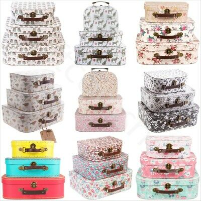 Vintage Floral Mini Suitcases Kids Storage Boxes Toy Brights School Box Suitcase