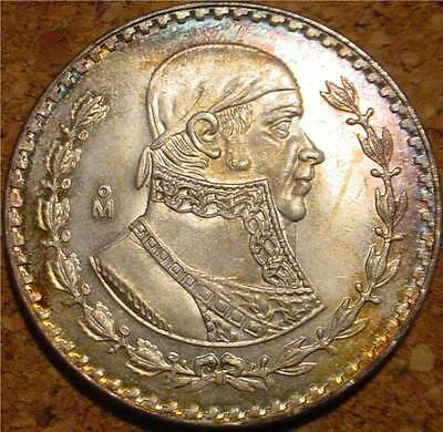Beautiful Large Silver 1961 Peso Mexico*last Silver Peso Minted For Circulation*