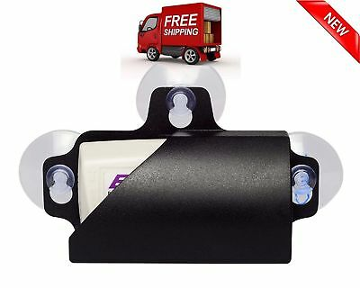 Black Removable Toll EZ Pass Transponder Tag Holder W/ 3 Suction Cups For Glass