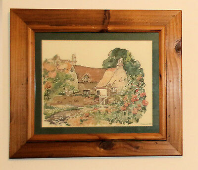 Framed Needlepoint English Country Cottage And Garden L Anderson 1989