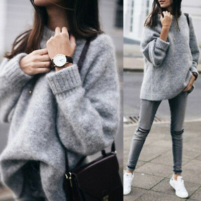 Women's Warm Knit Sweater Jumper Vintage O-neck Long Sleeve Thick Loose Sweater!