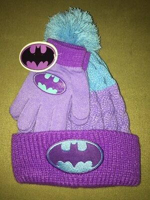 NWT Girls Batman Knit Hat And Gloves One Size Purple And Teal