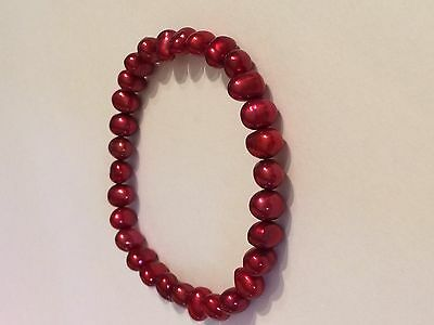 Honora stretch pearl bracelet, crimson red shade, new!