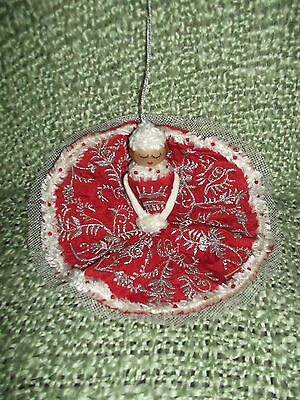 So Pretty hand crafted  Christmas Lady Fabric Ornament - well detailed
