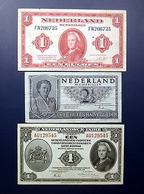 Lot of 3 banknotes from Netherlands