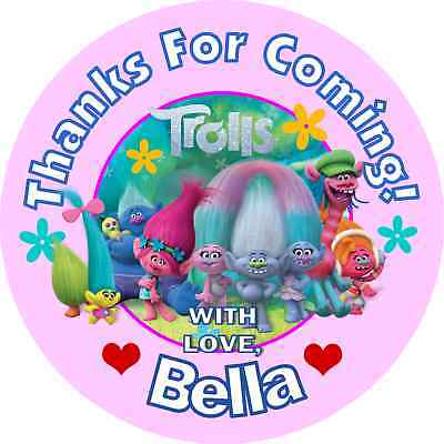 TROLLS BIRTHDAY PERSONALIZED ROUND PARTY STICKERS FAVORS Labels ~ VARIOUS SIZES