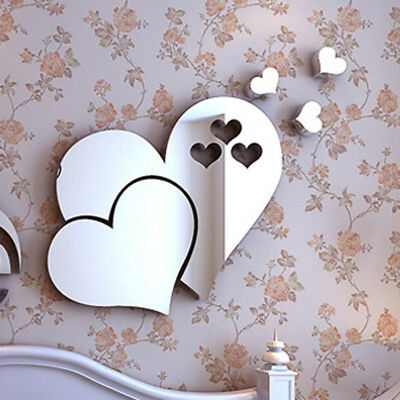 Removable 3D Mirror Wall Sticker Love Hearts Decal DIY Home Room Art Mural Decor