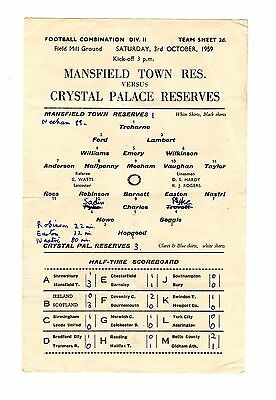 Mansfield Town v Crystal Palace Reserves Programme 3.10.1959