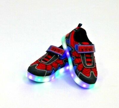 LED / Light Up Baby / Kids Boys  Toddler Spider Web  Flat Sneaker Shoes