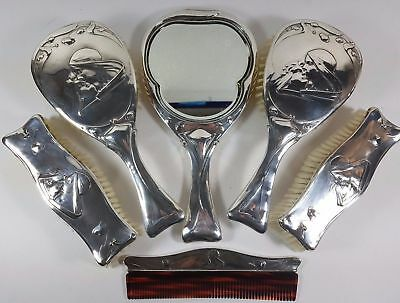 Superb Hm Silver Art Nouveau Vanity Set - Hair & Clothes Brush Mirror Comb 1903