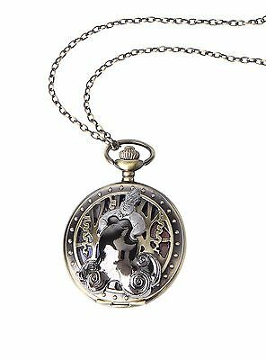 Disney Ariel Little Mermaid Ursula Scene Pocket Pendant Watch Brass Color