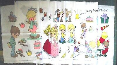 Lot of 8 Vintage 1993 Precious Moments Fabric Panels for Crafts Pillows Applique