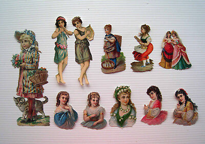 11 x Assorted Victorian Scraps - Pretty Girls - Girl with Cat & Flowers etc