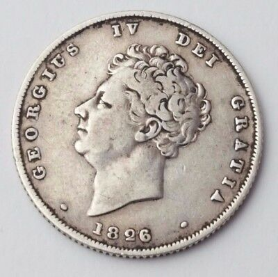 Dated : 1826 - Silver Coin - One Shilling - King George IV - Great Britain