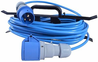 15m Caravan Camping Hook Up Cable 16A Site Extension Lead Electric + Cable Reel