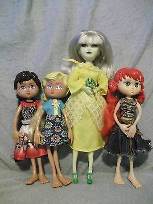 """Mixed lot 10"""" green Gothic doll & 3 Bendy dolls contemporary but cannot identify"""
